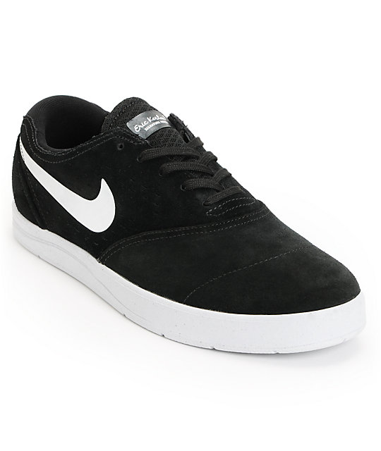 Nike SB Eric Koston 2 Lunarlon Black & White Suede Skate Shoes
