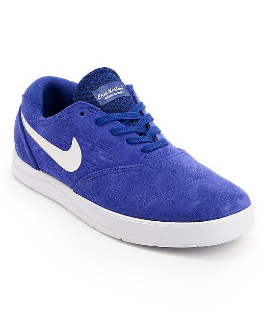 Nike SB Eric Koston 2 Lunarlon Deep Royal Blue & White Suede Skate Shoes