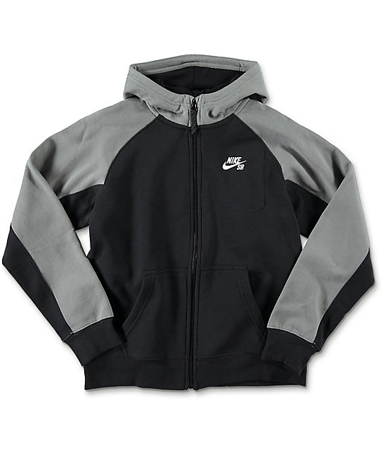 Nike SB Everett Full Zip Black Boys Hoodie
