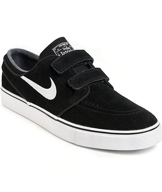 Nike SB Janoski AC Black & White Velcro Skate Shoes