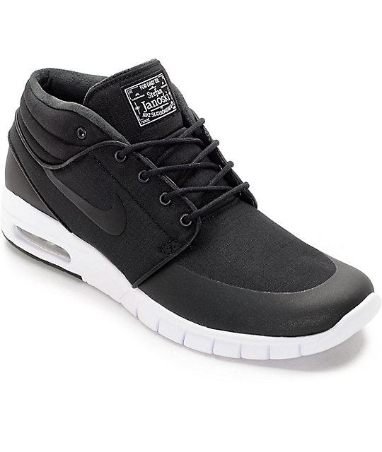 Nike SB Janoski Air Max Mid Black & White Skate Shoes