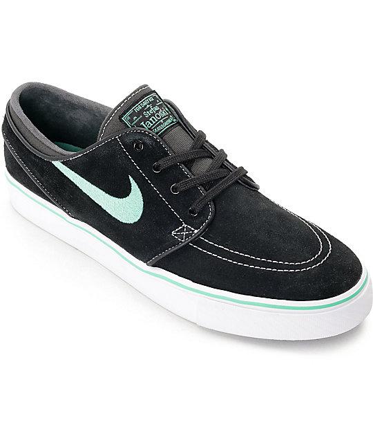 Nike SB Janoski Black & Green Glow Suede Skate Shoes