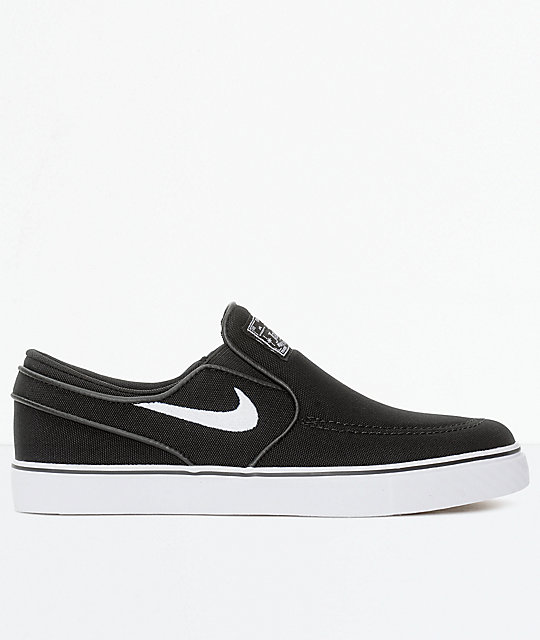 Nike SB Janoski Black & White Boys Slip-On Canvas Skate Shoes