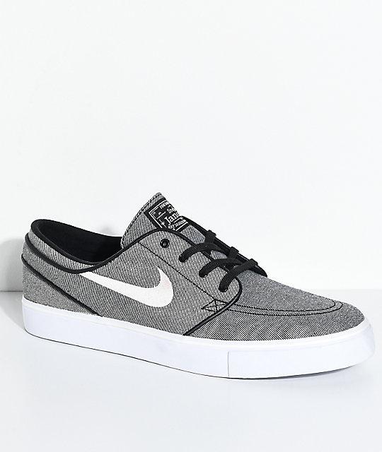 7c52b6c1b5c ... Nike SB Janoski Black Sail White Canvas Skate Shoes .