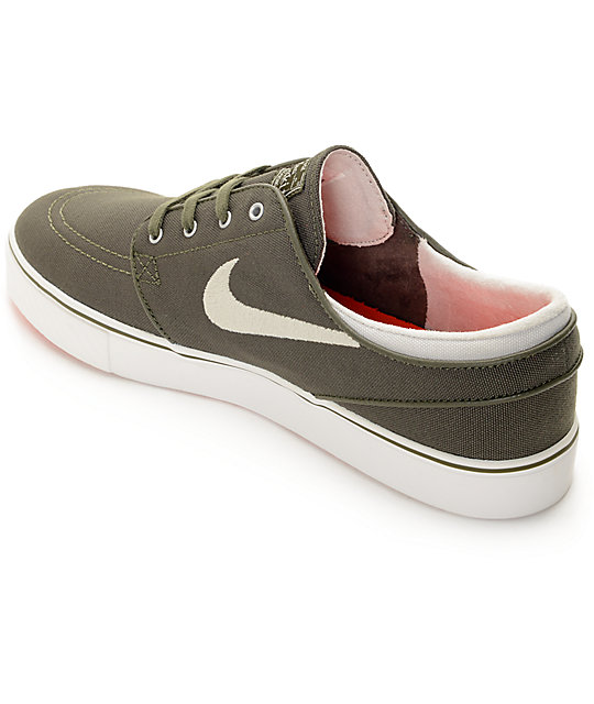 Nike SB Janoski Canvas Dark Green & White Canvas Skate Shoes