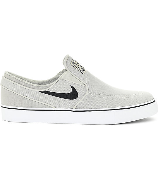 Nike SB Janoski Pale Grey Boys Slip-On Canvas Skate Shoes