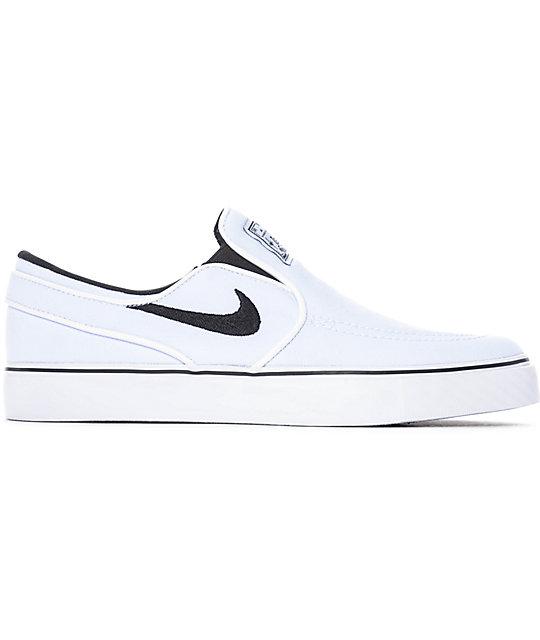 Nike SB Janoski White & Black Canvas Slip On Women's Skate Shoes