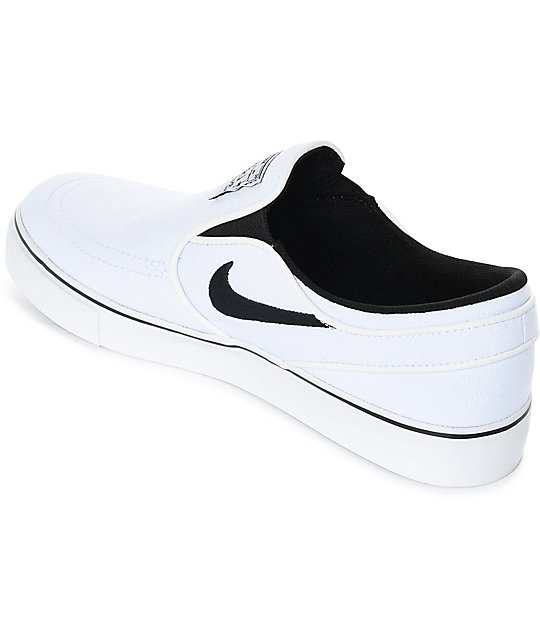 Nike Sb Janoski White Black Canvas Slip On Women S Skate Shoes
