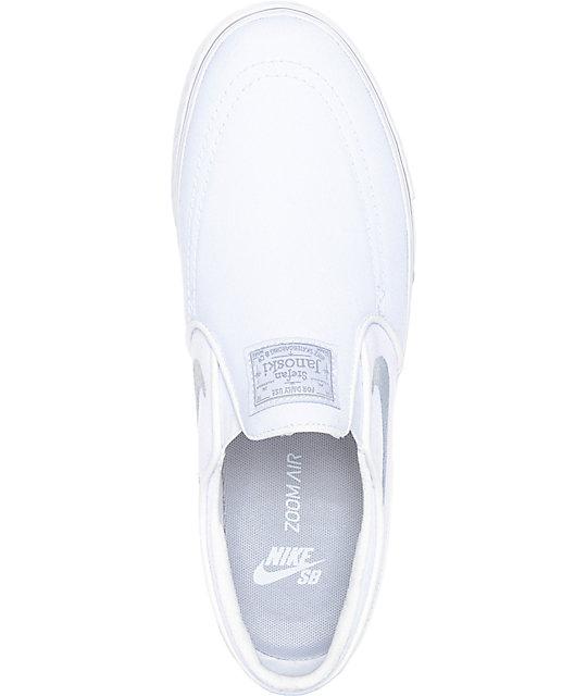 Nike SB Janoski White & Wolf Grey Slip-On Canvas Skate Shoes