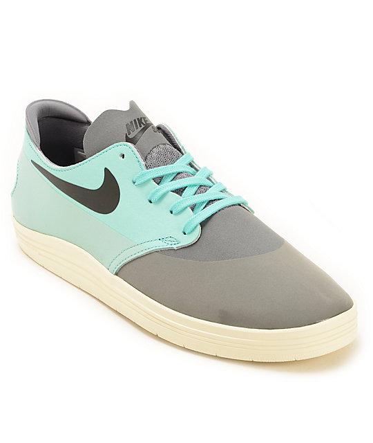Nike SB Lunar Oneshot Cool Grey & Turquoise Skate Shoes