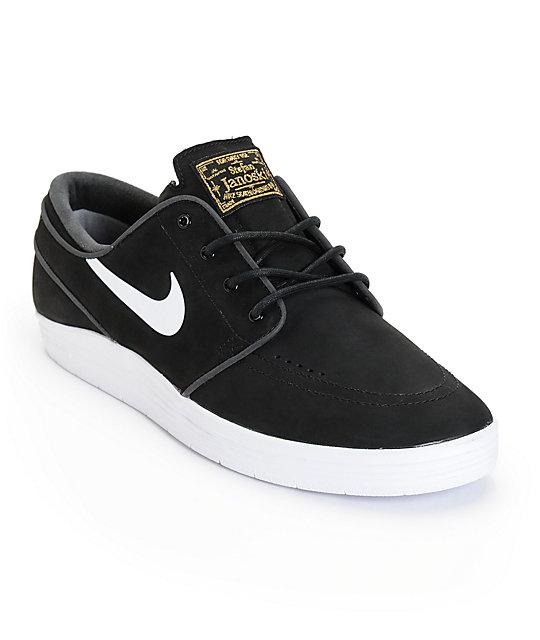 nike sb lunar stefan janoski black white skate shoes