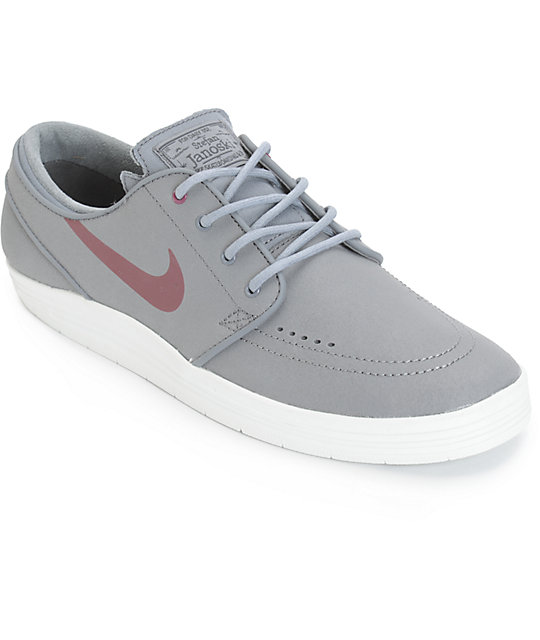Nike SB Lunar Stefan Janoski Cool Grey & Villain Red Skate Shoes