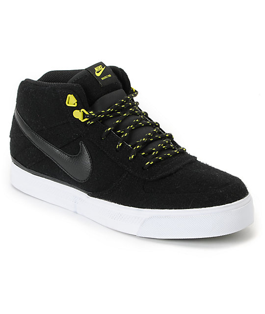 Nike SB Mavrk Mid 2 Black, Atomic Green & White Wool Skate Shoes