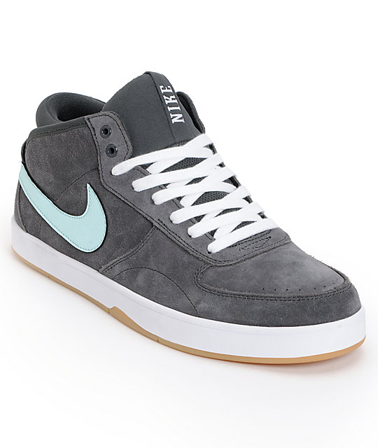 Nike SB Mavrk Mid 3 Anthracite & Teal Suede Skate Shoes
