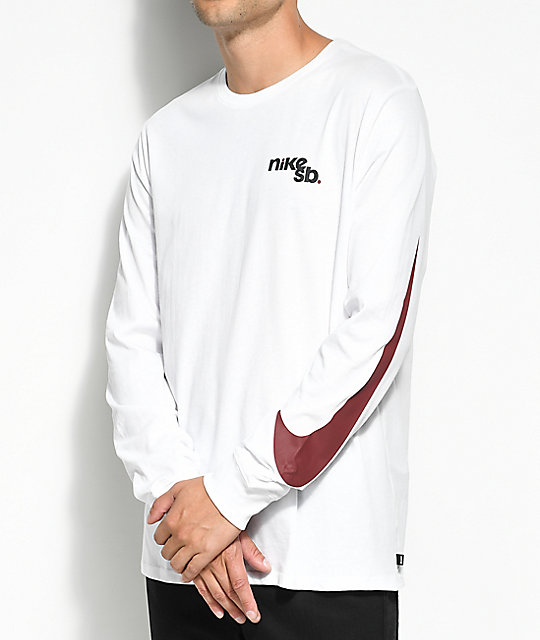 Nike sb outdoor white long sleeve t shirt zumiez for What is a long sleeve t shirt