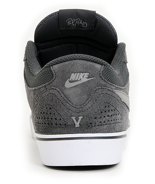 Nike SB P Rod 5 LR Lunarlon Anthracite & White Skate Shoes