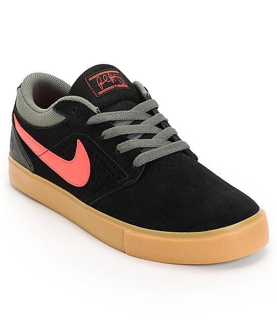 Nike SB P-Rod 5 LR Lunarlon Black, Atomic Red & Gum Suede Skate Shoes