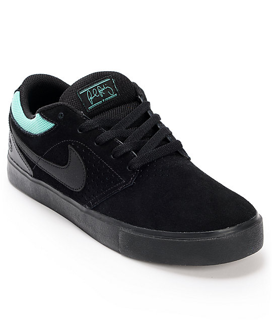 Nike SB P-Rod 5 LR Lunarlon Black, Black & Mint Skate Shoes