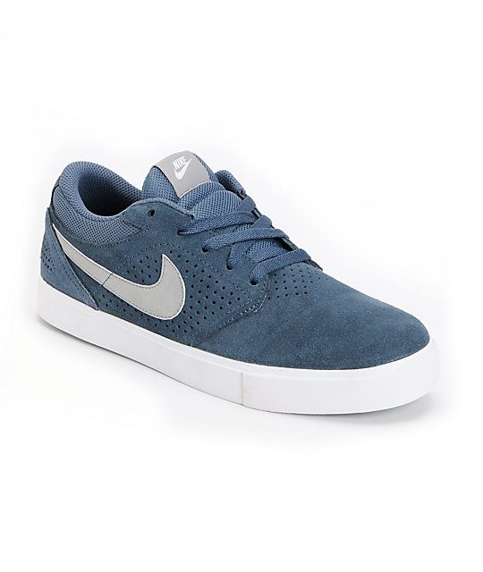 Nike SB P-Rod 5 LR Lunarlon Denim, White & Silver Skate Shoes