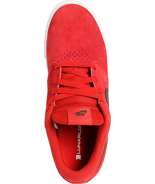 Nike SB P-Rod 5 LR Lunarlon Gym Red Suede Skate Shoes