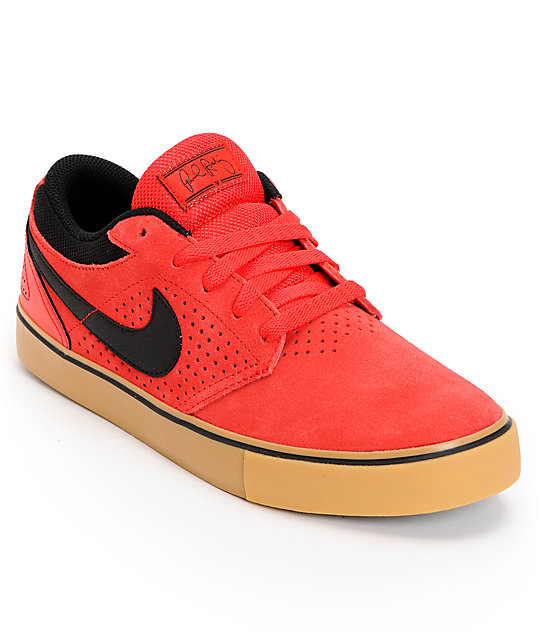 Nike SB P-Rod 5 LR Lunarlon Hyper Red & Gum Suede Skate Shoes