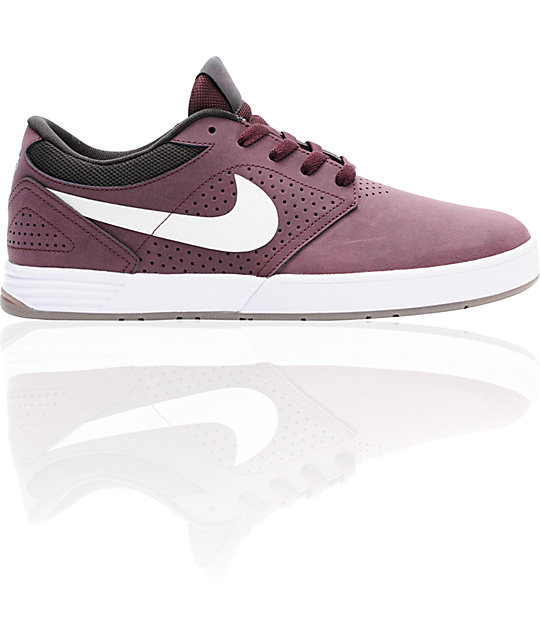 Nike SB P-Rod 5 Low Lunarlon Burgundy & White Shoes