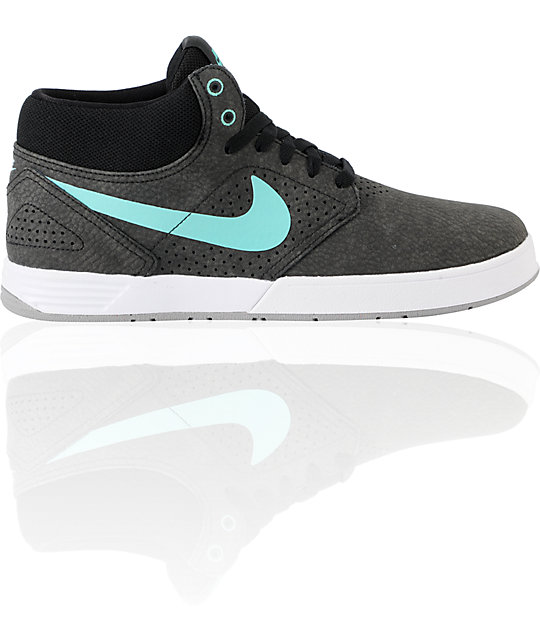 Nike SB P-Rod 5 Mid Lunarlon Black & Mint Skate Shoes