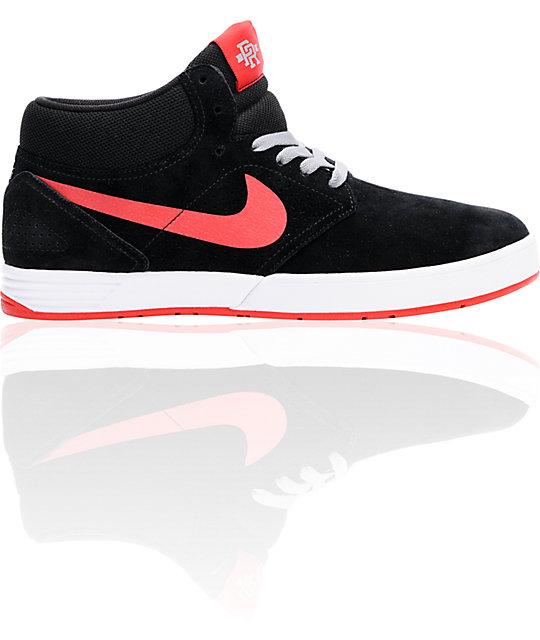 Nike SB P-Rod 5 Mid Lunarlon Black & Red Skate Shoes