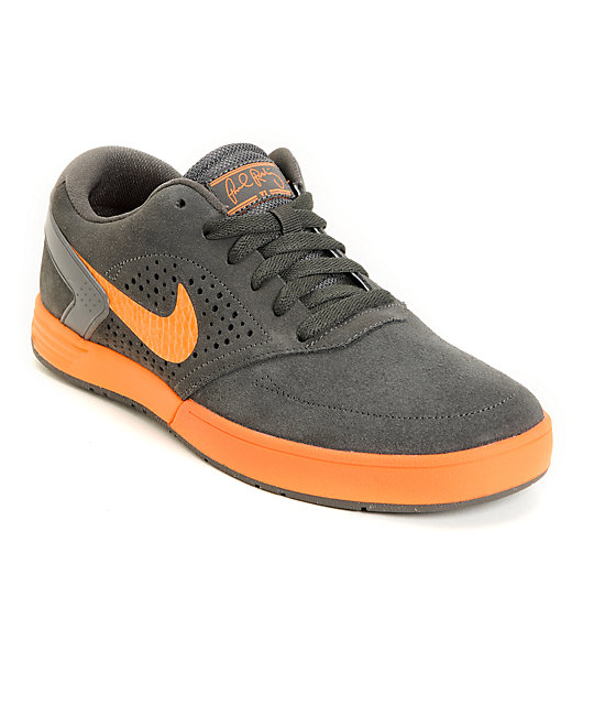 Nike SB P-Rod 6 LR Lunarlon Fog Grey & Total Orange Skate Shoes
