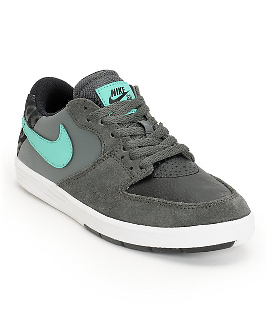 Nike SB P-Rod 7 Dark Base Grey, Crystal Mint, & Black Boys Shoes