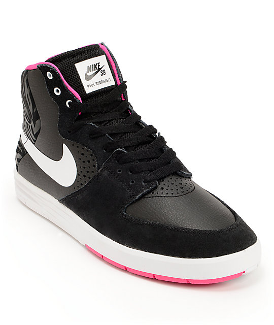 Nike SB P-Rod 7 High Black, Pink Foil, & White Shoes
