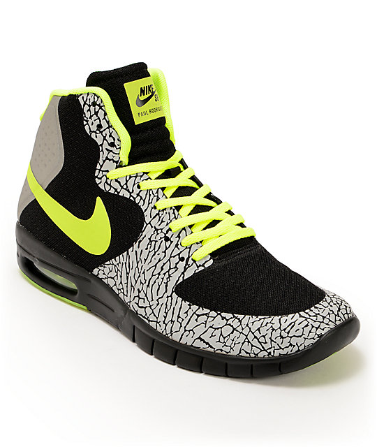 Nike SB P-Rod 7 Hyperfuse Air Max Premium Black, Volt, Metallic Silver Shoes