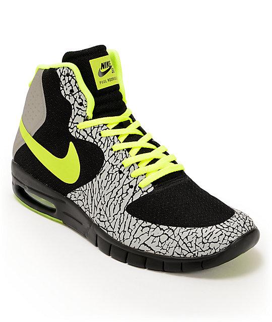 Nike SB P-Rod 7 Hyperfuse Max Premium Black, Volt, Metallic Silver Shoes