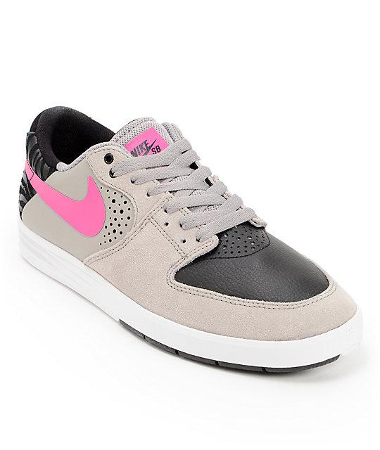 Nike SB P-Rod 7 Low Medium Grey, Pink Foil, & Black Shoes