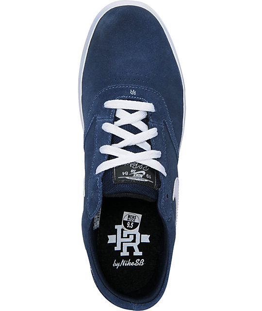 Nike SB P-Rod Vulc Rod Obsidian, Blue & White Suede Skate Shoes