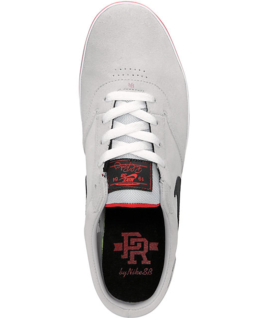 Nike SB P-Rod Vulc Rod Platinum & Black Suede Skate Shoes