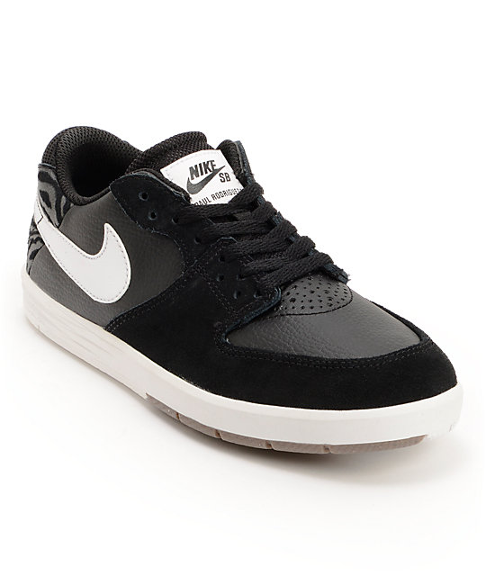 Nike SB Paul Rodriguez 7 GS Black & White Boys Skate Shoes ...