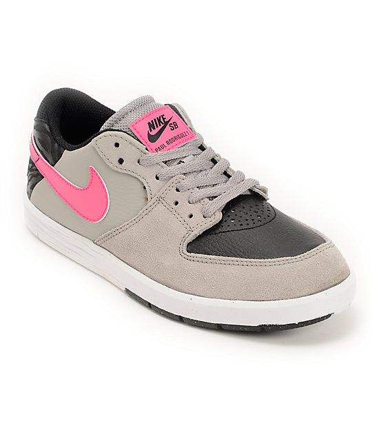 nike sb paul rodriguez 7 gs grey black pink boys skate