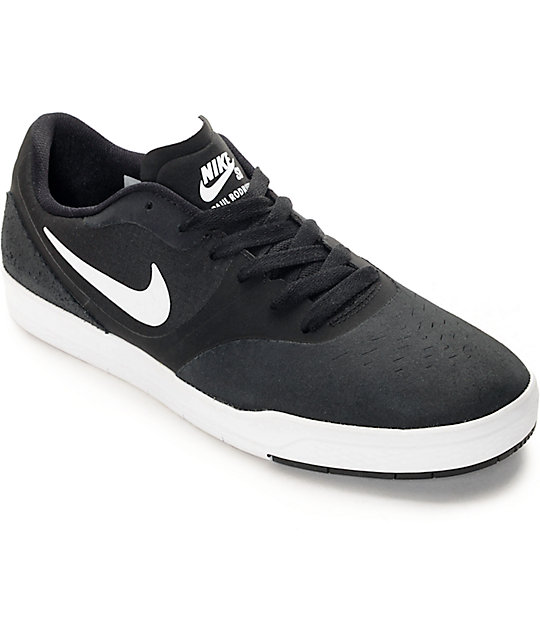 nike sb paul rodriguez 9 cs black white skate shoes zumiez. Black Bedroom Furniture Sets. Home Design Ideas
