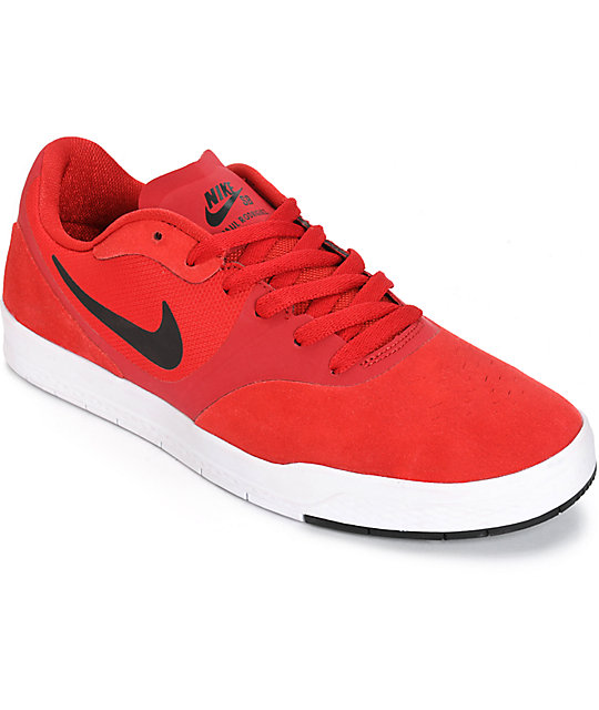 Nike SB Paul Rodriguez 9 CS Gym Red, Black, & White Skate Shoes