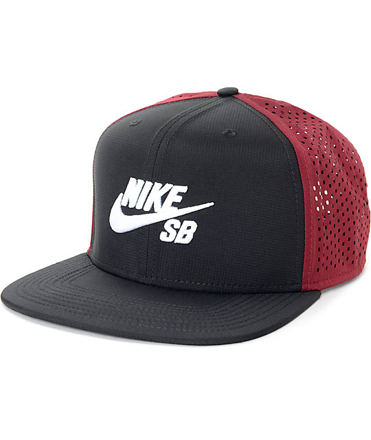 121707a87f1 Nike SB Perforated Black %26 Red Trucker Hat 268200 front US