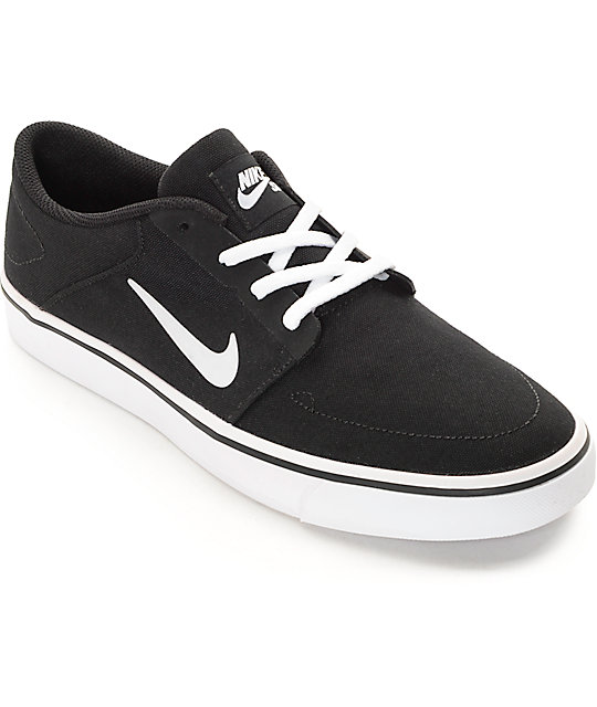 nike sb portmore black white canvas skate shoes at