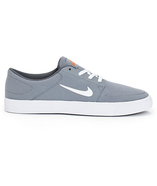 Nike Sb Portmore Cool Grey White Orange Skate Shoes