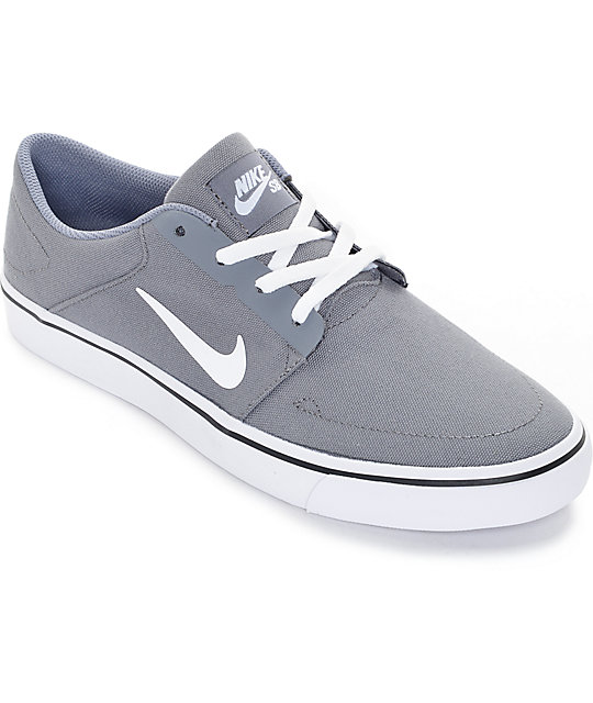 Nike SB Portmore Cool Grey & White Canvas Skate Shoes