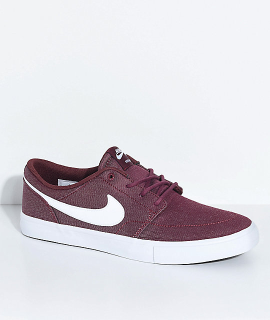 Nike SB Portmore II Burgundy & White Skate Shoes