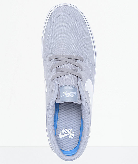 ... nike sb portmore ii wolf grey white canvas skate shoes