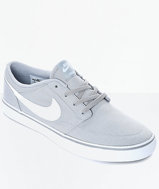 nike sb portmore ii wolf grey white canvas skate shoes