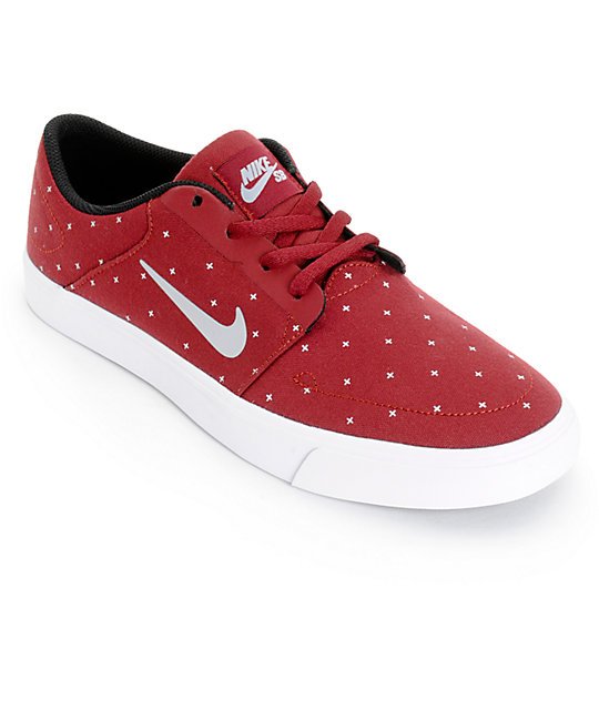 Nike SB Portmore Team Red & Wolf Grey Skate Shoes