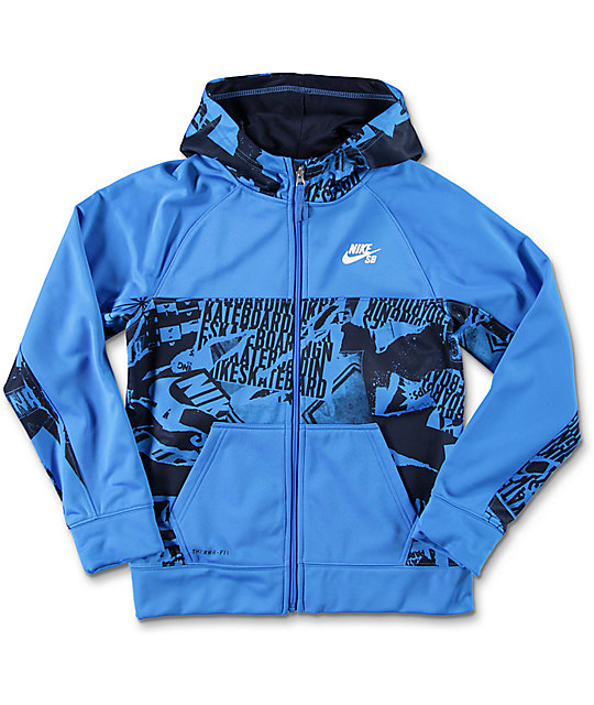 Nike SB Print Blocked Boys Blue Thermafit Tech Fleece Jacket