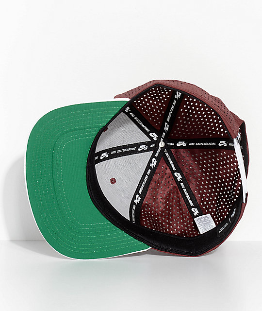 Nike SB Pro Team AeroBill Dri-Fit Burgundy & White Snapback Hat